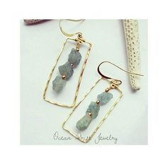 Raw aqua marine earrings Gold plated non tarnish and hammered for texture handmade Jewelry Earrings