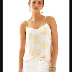 d6ccec9964f28 Dusk Racer Back Tank Top - Lilly Pulitzer Resort White Shell Clip Dot  Chiffon