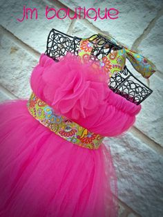 Pink Tutu Dress w/ Green Print Ribbon for Birthday by JMBoutique1, $49.99