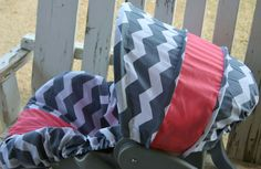 gray and white chevron with coral cotton by SqueakyBugBabies