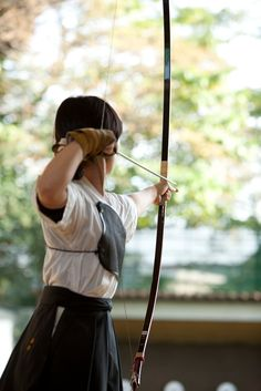 Try it. Her core, arms, and strength from relaxed breathing and calmness,  allow a beautiful arrow flight | archery