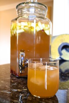 Sparkling Apple Sangria with cider, apple brandy, and cinnamon sticks. Make ahead for any event, from football to NASCAR! Fall Drinks, Holiday Drinks, Party Drinks, Cocktail Drinks, Cocktail Recipes, Thanksgiving Cocktails, Thanksgiving Recipes, Holiday Recipes, Happy Thanksgiving