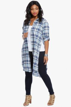 On-trend tartan graces the Maddie tunic, a must-have for spring in a light palette of oceanic blues! Plus Size Summer Outfit, Plus Size Outfits, Curvy Fashion, Plus Size Fashion, Plaid Tunic, Fashion To Figure, Stylish Outfits, Stylish Clothes, Trendy Plus Size Clothing