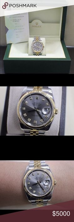 ROLEX DATE 18K GOLD 36MM DIAMOND DIAL BOX  PAPERS 18k Gold Box & Papers Rolex Accessories Watches