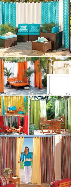 Add privacy and shade just about anywhere in your backyard with a Freestanding Outdoor Curtain Rod Set. Pergola Curtains, Outdoor Curtains, Pergola Patio, Pergola Plans, Pergola Ideas, Patio Ideas, Mosquito Curtains, Outdoor Curtain Rods, Backyard Creations