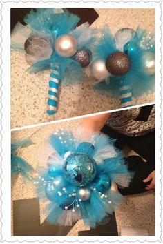 Ornament bouquet for Christmas wedding!