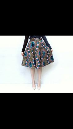 African printed flared skirt