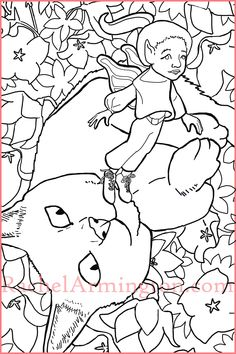 Coloring page of fairy girl flying over flowers and cat. Coloring Books, Coloring Pages, Fairy Paintings, Kittens, Cats, Gourds, Art Drawings, Folk, Snoopy