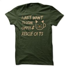 Coffee And Rescue Cats - Dark Version - #sweatshirts for men #retro t shirts. GET YOURS => https://www.sunfrog.com/Pets/Coffee-And-Rescue-Cats.html?id=60505