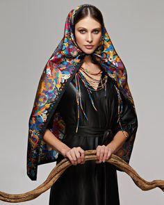 "Sirin Bird and scarf ""Kandinsky"" Символ бренда, Птица Сирин в платке «Кандинский» Ways To Wear A Scarf, How To Wear Scarves, Silk Scarves, Russia, Beautiful, Dresses, Fashion, Vestidos, Moda"