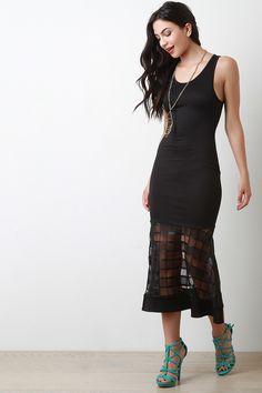 Grid Mesh Peplum Maxi Dress