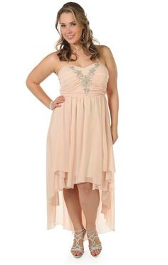 Elegant plus size chiffon high low prom dress