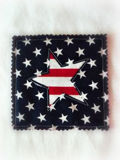 Set of 4 Patriotic Quilted Coasters  Red  White  by ISewAsWell, $12.00