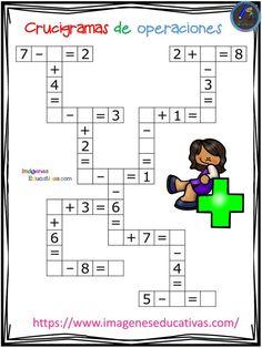 Crucigramas de operaciones sencillas - Imagenes Educativas 2nd Grade Math Worksheets, 1st Grade Math, Math For Kids, Fun Math, Preschool Math, Activities For Kids, Reggio Emilia Classroom, Math Sheets, Teaching Numbers