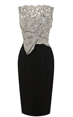 Pencil dress with tweed bodice and lace neckline with wool skirt.
