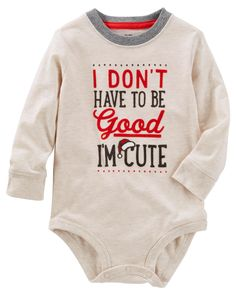 Baby Boy Good & Cute Bodysuit from OshKosh B'gosh. Shop clothing & accessories from a trusted name in kids, toddlers, and baby clothes. Baby Outfits Newborn, Baby Girl Newborn, Baby Boy Outfits, Disney Baby Clothes, Oshkosh Baby, Long Sleeve Bodysuit, Boy Fashion, New Baby Products, Baby Kids