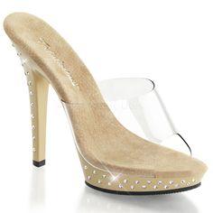 Pleaser tan chrome rhinestone slip on shoes Bling Shoes, Tan Shoes, Slip On Shoes, Women's Shoes Sandals, Sexy High Heels, Clear High Heels, Transparente High Heels, Clogs, Prom Heels