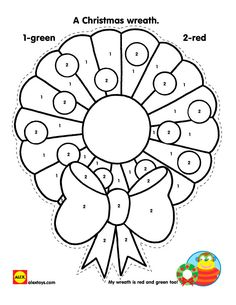 Color By Number Christmas Wreath Printable On Alexbrands