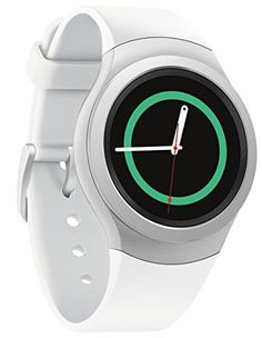 An image of the Samsung Gear wearable tech digital smartwatch with a silver watch face, white straps, black dial with a green thin interior rim, white hour and minutes hands, red second hand and a circular display with a rotating bezel Tech Accessories, Cell Phone Accessories, Timex Watches, Women's Watches, Luxury Watches, Amazing Watches, Health App, Wearable Technology, Latest Technology