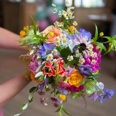 This beautiful brightly coloured Wedding Bouquet is so gorgeous and perefect for a Summer Wedding. Wedding Dresses With Flowers, Spring Wedding Flowers, Bridal Flowers, Flower Bouquet Wedding, Floral Wedding, Summer Wedding, Wedding Colors, Dream Wedding, Spring Flower Bouquet