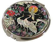 Mother of Pearl Makeup Mirror finetree & crane Design Cosmetic mirror Handbag Purse handheld Compact hand pocket Mirror