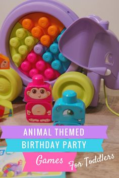 Animal themed birthday party games for toddlers using Mega Bloks construction blocks.