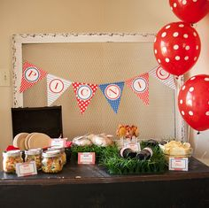 Patriotic picnic held indoors! So fun for a rainy summer day. Printables from Chickabug.
