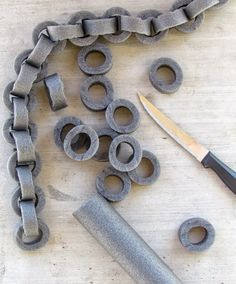 Make faux chains out of pipe insulation to use as Halloween decor. {ribbonsandglue.com}