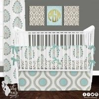 Taupe & Blue Designer Created Crib Set. Custom crib rail cover or baby bumper, designer baby blanket, crib skirt, fitted crib sheet, window panels, wall art, changing pad cover and custom monogramming.