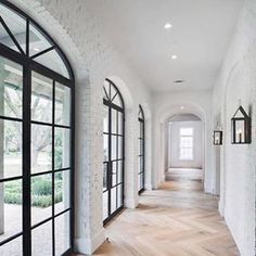 One of my favorite trends in design right now is the use of steel windows and doors. Dream Home Design, My Dream Home, Home Interior Design, Modern Interior, Steel Windows, Windows And Doors, Black Windows, Black Doors, Arched Windows