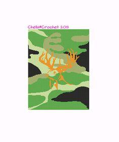 Orange deer head silhouette on green camo crochet pattern graph chart