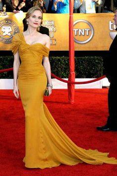 *Burgundy* Diane Kruger Yellow Formal Dress 2010 SAG awards Red Carpet