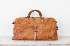 Caramel Leather Travel Satchel Bag Large