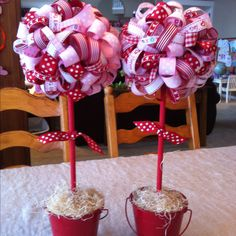 Valentine ribbon topiaries!