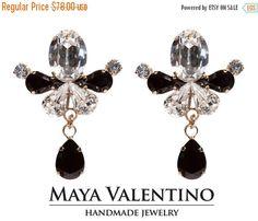 Swarovski Earring 14K Rose Gold Black & Clear by MayaValentino