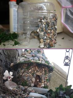 Miniature Stone Fairy House Tutorial- DIY Stone Fairy House from Plastic B. Miniature Stone Fairy House Tutorial- DIY Stone Fairy House from Plastic B. Know What Gurus Think About Assorted Succulents 79 DIY Miniature Stone Fairy House Tutorials Garden Crafts, Diy Garden Decor, Garden Projects, Garden Ideas, Garden Decorations, Easy Garden, Diy Projects, Balcony Decoration, Fairy Crafts