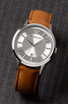 Emporio Armani Round Leather Strap Watch, 43mm | Nordstrom