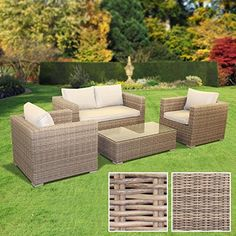 BillyOh Sala Lounge Set - 4 Seat Rattan Sofa Set in Natural with Seat