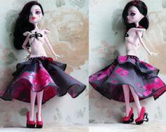 Fabriqué à la main de vêtements haute monstre gris rose, tenue pour poupée Monster, Monster High Fashion, Draculaura, Monster haute robe, bijoux, robe
