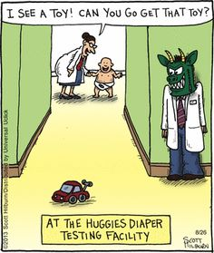 """The Diaper Testing Facility"" The Argyle Sweater Comic Strip, August 26, 2013 on GoComics.com"