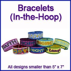 Machine Embroidery Designs at Embroidery Library! - Bracelets (In-the-Hoop)