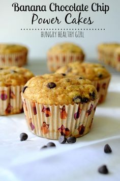 Banana Chocolate Chip Power Cakes -Super moist protein-packed banana muffins with no oil or butter. Picky kid approved!