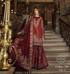 Dulhan Dress In Maroon Red Color With Short Shirt And Sharara With Threads,Sequance,Tilla Embroidery Handwork And Cutwork.Dulhan Mehndi Dupatas With Gota Work Available. Pakistani Wedding Outfits, Bridal Outfits, Pakistani Dresses, Bridal Dresses, Girls Dresses, Pakistani Sharara, Pakistani Clothing, Indian Bridal Lehenga, Indian Bridal Wear