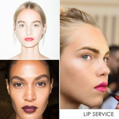 Biggest Makeup Trends For Spring 2016 | The Zoe Report - Allow your lips to make a statement, even when you're not talking. Trending shades range from the coral red to purple oxbloods and include everything in between.
