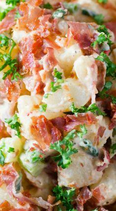 Italian Prosciutto Potato Salad ~ The salty goodness of crispy prosciutto will have everyone coming back for seconds!