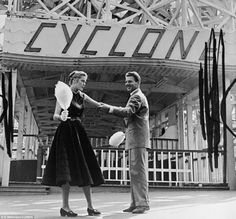 Whirlwind: Grace Kelly and Jean Pierre Aumont were 'out on a date' until they come to the famous Cyclone roller coaster, and that's when Grace decided maybe she'll pass this one by (Coney Island)