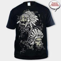 250 грн.  Футболка Indian Skull black  Размеры: S, L ,M, L, XL, 2XL. Футболки. Мужские футболки. Футболки с принтом. Футболки с черепами
