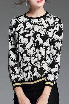 Long Sleeve Horse Sweatshirt