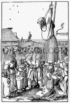 PEASANTS HANGING MONK, Swiss peasants hanging a vendor of indulgences during the Protestant Reformation. Woodcut by Niklaus Manuel Deutsch, Hans Holbein The Younger, Spanish Inquisition, Protestant Reformation, Thirty Years' War, Blood Art, Germany And Italy, Late Middle Ages, Heaven And Hell, Dark Forest