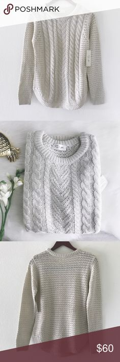 """RD Style • soft oatmeal cable knit sweater RD Style  The softest cable knit sweater ever! In """"white beach"""" color. Crew neckline. Round hem. Cotton/acrylic blend. The thing that makes this one so perfect is the depth of the luxe knitting. There's braiding, an open weave & chevon at play making it look (and feel) like it's a wearable blanket. Color truest in last 3 photos. Could also fit S-M.  size: large measurements coming soon condition: new with tags RD Style Sweaters Crew & Scoop Necks"""